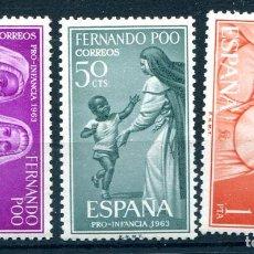 Sellos: EDIFIL 215/217 DE FERNANDO POO, EN BLOQUE DE 4. TEMA PRO INFANCIA. VER DESCRIPCIÓN. Lote 183419382