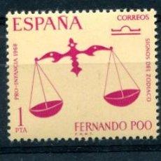 Sellos: EDIFIL 265/267 DE FERNANDO POO, EN BLOQUE DE 4. TEMA SIGNOS DEL ZODÍACO. VER DESCRIPCIÓN. Lote 183421565