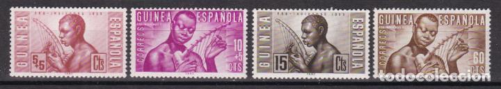 GUINEA 1953 - PRO INDÍGENAS SERIE COMPLETA NUEVA SIN FIJASELLOS EDIFIL Nº 321/324 (Sellos - España - Colonias Españolas y Dependencias - África - Guinea)