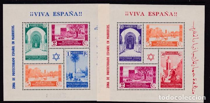 MARRUECOS 1937 - HOJAS BLOQUE DE SELLOS TIPOS 1935-37 NUEVAS SIN FIJASELLOS ED. 167/168 (Sellos - España - Colonias Españolas y Dependencias - África - Marruecos)