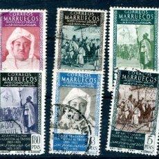 Sellos: EDIFIL 406/415 DE MARRUECOS ESPAÑOL, MATASELLADOS. Lote 184728423