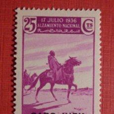 Sellos: SELLO ESPAÑA EXCOLONIAS, MARRUECOS HABILITADOS CABO JUBY - EDIFIL 91 - 25 CTS. LILA - NUEVO. Lote 186227863
