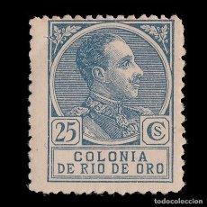 Sellos: RÍO DE ORO. 1919. ALFONSO XIII. 25C AZUL. NUEVO*. MN. EDIFIL Nº110. Lote 186684592