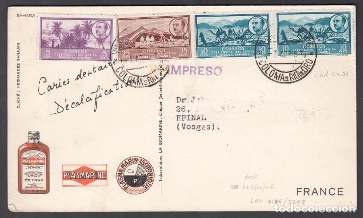 TARJETA DE PROPAGANDA, RIO DE ORO A FRANCIA (Sellos - España - Colonias Españolas y Dependencias - África - Río de Oro)