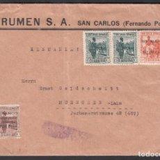 Sellos: SOBRE DE SAN CARLOS - ALEMANIA, CON SELLO DE SUSCRIPCIÓN NACIONAL, CENSURA MILITAR GUINEA ESPAÑOLA.. Lote 187453706