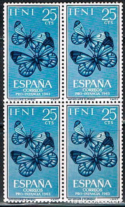IFNI EDIFIL 195/7, MARIPOSAS (PRO INFANCIA 1963), NUEVO *** EN BLOQUE DE 4 (Sellos - España - Colonias Españolas y Dependencias - África - Ifni)