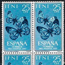 Sellos: IFNI EDIFIL 195/7, MARIPOSAS (PRO INFANCIA 1963), NUEVO *** EN BLOQUE DE 4. Lote 187524051