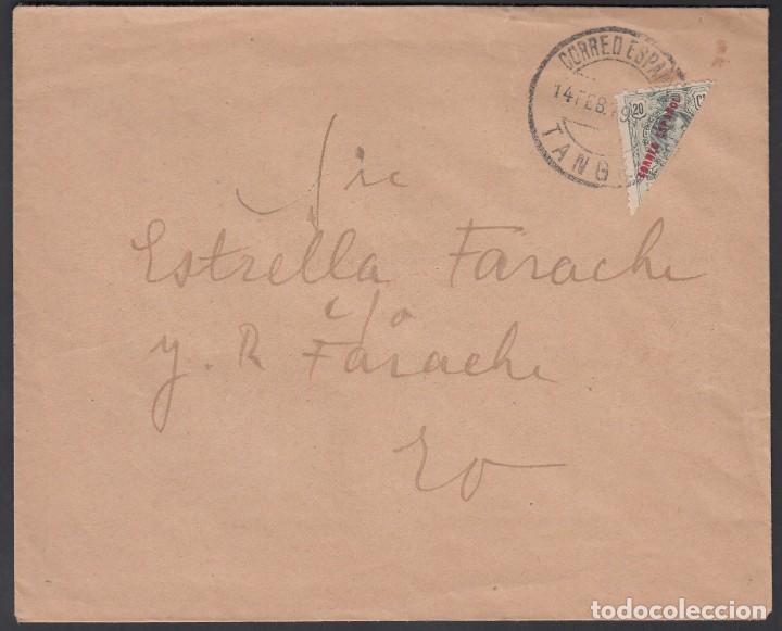 TANGER, CORREO INTERIOR DE TANGER, 1919. 20 CTS VERDE BRONCE BISECTADO (Sellos - España - Colonias Españolas y Dependencias - África - Tanger)