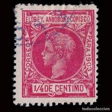 Sellos: ELOBEY ANNOBÓN CORISCO.1903.ALFONSO XIII. ¼ C.ROSA.USADO.EDIFIL 1. Lote 190110410