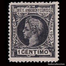 Sellos: ELOBEY. 1903.ALFONSO XIII. 1 C.NEGRO.NUEVO* MN.EDIFIL 3. Lote 190110798