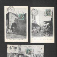 Sellos: MARRUECOS ESPAÑOL TRES POSTALES Y UNA DOBLE CIRCULADAS A FRANCIA EN 1908 ,. Lote 191104506
