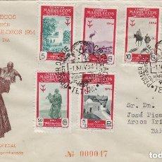 Sellos: MARRUECOS 1954 Nº ED 394/99 PRO TUBERCULOSOS SOBRE SPD CIRCULADO ED, OFICIAL NARANJA. MUY RARO. Lote 191127816