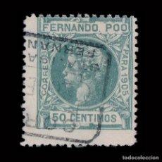 Sellos: FERNANDO POO.1905 ALFONSO XIII.50C.VERDE CLARO.USADO. EDIFIL 144. Lote 191634781