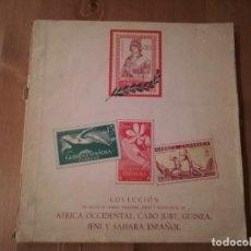 Sellos: ALBUM VACIO ,SOLO 192 SELLOS AFRICA OCCIDENTAL, CABO JUBY, GUINEA, IFNI Y SAHARA ESPAÑOL. Lote 192504797