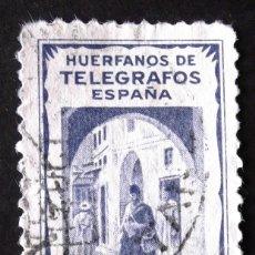 Sellos: HUÉRFANOS TELÉGRAFOS TÁNGER, SELLO USADO 25 CTS, COLOR AZUL. VISTA.. Lote 193311426