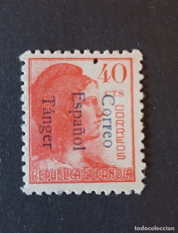 SELLO TANGER - 1938 - EDIFIL 102 HI - HABILITADO INVERTIDO - /*/ LEVE FIJASELLO (Sellos - España - Colonias Españolas y Dependencias - África - Tanger)