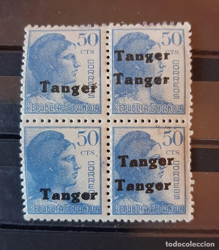 SELLO TANGER - 1939 - EDIFIL 122 BLOQUE 4 CON 2 HH - HABILITADO DOBLE - /*/ LEVE FIJASELLO (Sellos - España - Colonias Españolas y Dependencias - África - Tanger)