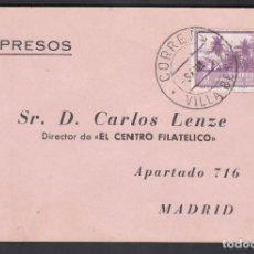 Selos: TARJETA COMERCIAL IMPRESOS, VILLA BENS A MADRID, 28-12-1951 . Lote 193748155