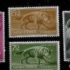 Sellos: SAHARA - DIA DEL SELLO - EDIFIL 142-145 - 1957 - SIN FIJASELLOS. Lote 262110215