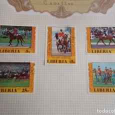Sellos: LIBERIA 5 SELLOS OLIMPIADA DE MONTREAL EQUITACIÓN . Lote 195319277