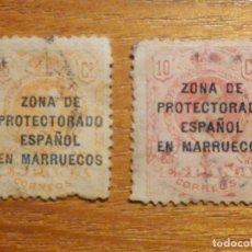 Sellos: 10 Y 15 CÉNTIMOS - CTS - MARRUECOS ZONA PROTECTORADO ESPAÑOL - NUMERACIÓN AL DORSO - USADOS. Lote 196141978