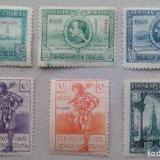 Sellos: ESPAÑA TANGER MARRUECOS SEVILLA BARCELONA EDIFIL 37 - 47 (SEIS VALORES). Lote 197066130