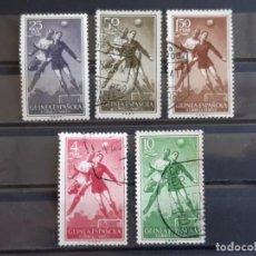 Sellos: GUINEA , EDIFIL 350-354, 1955 FÚTBOL. Lote 198497010
