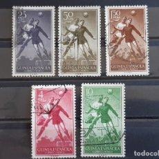 Sellos: GUINEA , EDIFIL 350-354, 1955 FÚTBOL. Lote 198497047
