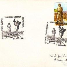 Sellos: TARJETA: 1992 EMPURIES - LA ESCALA. ARRIBADA TORXA OLIMPICA. Lote 199191773