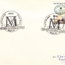 Sellos: TARJETA: 1992 MADRID. XXIV FERIA NACIONAL DEL SELLO - PLAZA MAYOR. Lote 199192116