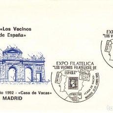 Sellos: TARJETA: 1992 MADRID. EXPOSICION LOS VECINOS FILATELICOS DE ESPAÑA. Lote 199194981