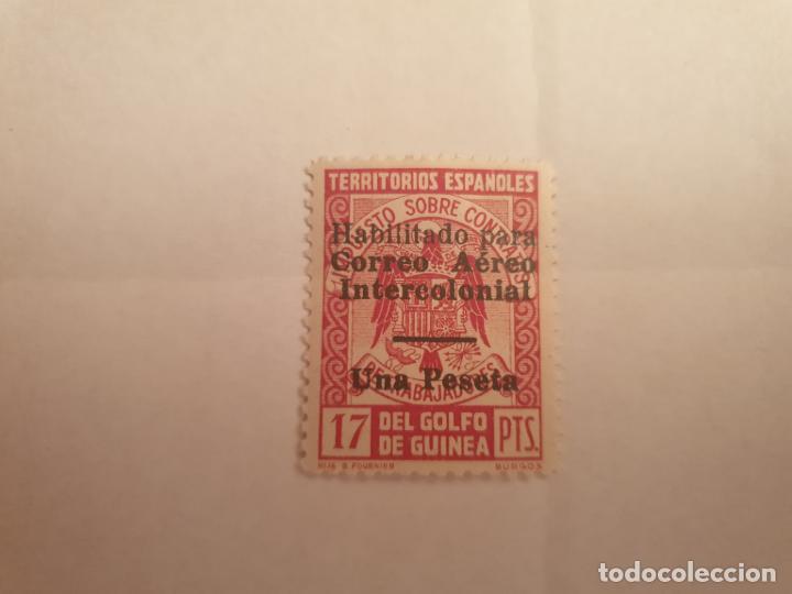 COLONIAS ESPAÑOLAS GUINEA EDIFIL 259L** BARRA HABILITACION 9 MM AÑO 1940-41 (Sellos - España - Colonias Españolas y Dependencias - África - Guinea)