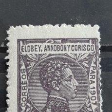 Sellos: ELOBEY, ANNOBÓN Y CORISCO, EDIFIL 40 **, 1907. Lote 202078907