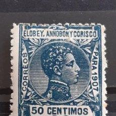 Sellos: ELOBEY, ANNOBÓN Y CORISCO, EDIFIL 43 ** ,1907. Lote 202081683
