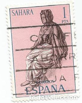 Sellos: 2 SELLOS USADOS DE 1972- SERIE SAHARA- TIPOS INDIGENAS- EDIFIL 297 - Foto 2 - 203863277