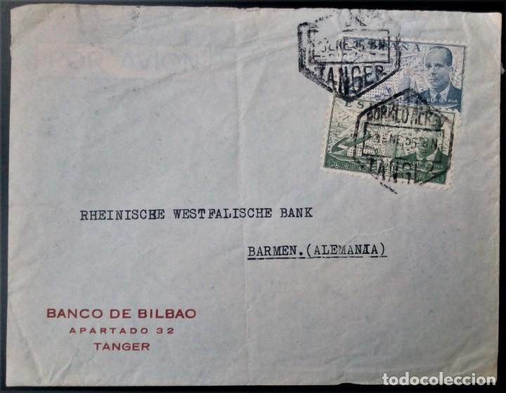 MARRUECOS TANGER JUAN DE LA CIERVA 1955 BANCO DE BILBAO CORREO AÉREO AVIÓN (Sellos - España - Colonias Españolas y Dependencias - África - Marruecos)