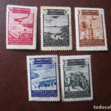 Sellos: CABO JUBY 1942, SELLOS DE MARRUECOS PARA CORREO AEREO, HABILITADOS, EDIFIL 133/37. Lote 204344731
