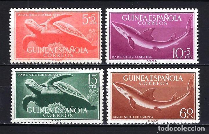 1954 GUINEA ESPAÑOLA EDIFIL 338/341 DÍA DEL SELLO -FAUNA MARINA - MNH** NUEVOS SIN FIJASELLOS (Sellos - España - Colonias Españolas y Dependencias - África - Guinea)