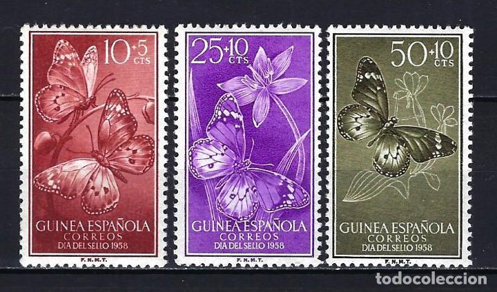 1958 GUINEA ESPAÑOLA EDIFIL 388/390 DÍA DEL SELLO FAUNA ANIMAL MARIPOSAS MNH** NUEVOS SIN FIJASELLOS (Sellos - España - Colonias Españolas y Dependencias - África - Guinea)