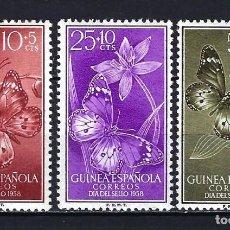 Sellos: 1958 GUINEA ESPAÑOLA EDIFIL 388/390 DÍA DEL SELLO FAUNA ANIMAL MARIPOSAS MNH** NUEVOS SIN FIJASELLOS. Lote 205445227