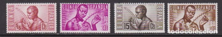 GUINEA 1953 - MÚSICOS INDÍGENAS SERIE COMPLETA NUEVA SIN FIJASELLOS EDIFIL Nº 321/324 (Sellos - España - Colonias Españolas y Dependencias - África - Guinea)