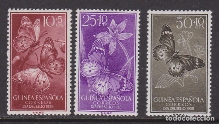 GUINEA 1958 - MARIPOSAS SERIE COMPLETA NUEVA CON FIJASELLOS EDIFIL Nº 388/390 (Sellos - España - Colonias Españolas y Dependencias - África - Guinea)