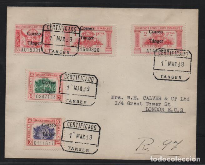 TANGER.- A LONDRES- CARTA CON SERIE SOBRECARGA -CORREO TANGER- FECHADA 1 MARZO 1939.- VER FOTOS (Sellos - España - Colonias Españolas y Dependencias - África - Tanger)