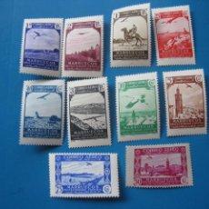 Sellos: +MARRUECOS 1938, PAISAJES, SELLOS PARA CORREO AEREO, EDIFIL 186/95. Lote 206165145