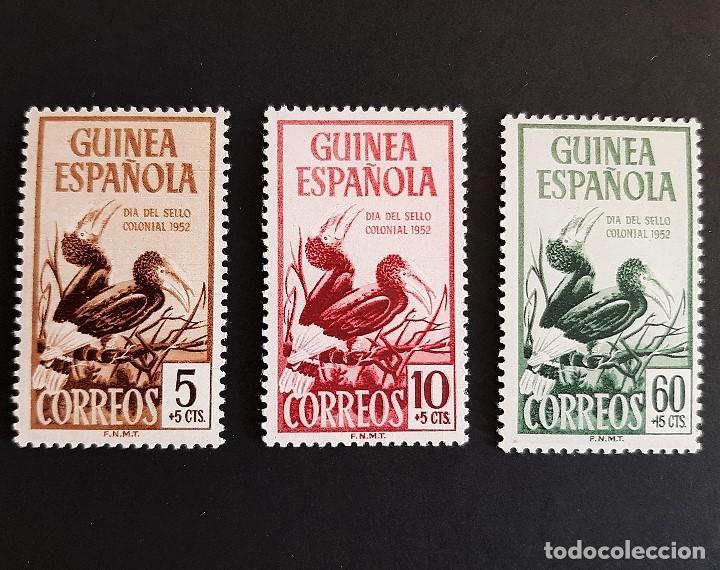 SELLOS GUINEA - 1952 - ED 318 A 320 - DIA DEL SELLO - /*/ NUEVO CON FIJASELLO (Sellos - España - Colonias Españolas y Dependencias - África - Guinea)