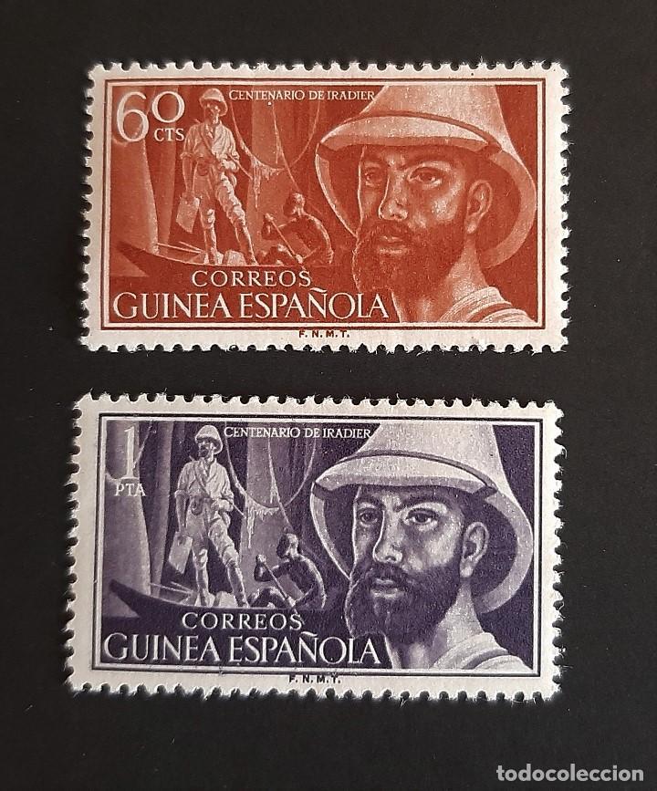 SELLOS GUINEA - 1955 - ED 342 A 343 - CENTENARIO IRADIER - /*/ NUEVO CON FIJASELLO (Sellos - España - Colonias Españolas y Dependencias - África - Guinea)