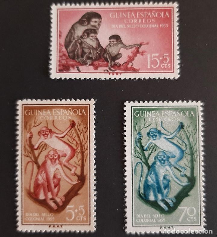 SELLOS GUINEA - 1955 - ED 355 A 357 - DIA DEL SELLO - /*/ NUEVO CON FIJASELLO (Sellos - España - Colonias Españolas y Dependencias - África - Guinea)