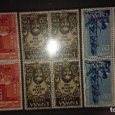 Sellos: SAHARA 1965 , SERIE COMPLETA Nº 239-240-241 - EN BLOQUE DE 4 , NUEVOS. LEER DESCRIPCION. Lote 206597497