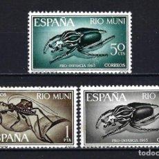 Sellos: 1965 ESPAÑA COLONIAS - RÍO MUNI EDIFIL 63/65 PRO INFANCIA - FAUNA - INSECTOS MNH** NUEVOS SIN FIJASE. Lote 207224406