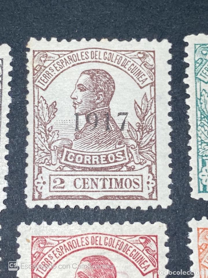 Sellos: GUINEA, 1917. ALFONSO XIII. HABILITADOS. EDIFIL 111-123. COMPLETA. NUEVOS. GOMA. SEÑAL FIJASELLOS. - Foto 3 - 209674196